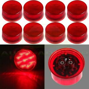 4pair Red 9 Led Truck Trailer Sealed Side Marker Clearance Light 2 Round 12v