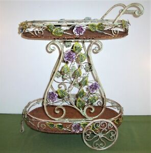 30 Vintage Cottage Rose Metal Tole Rolling Tea Cart Table W Cane Tray Toleware