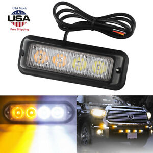 4led Amber White Car Emergency Beacon Warning Hazard Flashing Strobe Light Bar