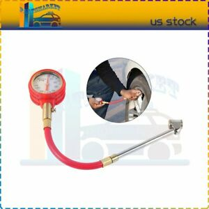New 5 75psi Air Tire Pressure Gauge Dial Meter Tester With Dual Head Chuck
