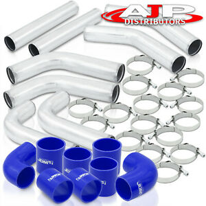 8pcs Universal 3 Intercooler Piping Kit T bolt Clamps blue Silicone Couplers