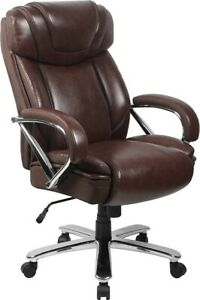 Big Tall 500 Lbs Capacity Brown Leather Executive Office Chair Extra Wide Seat