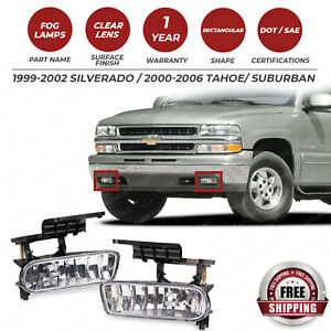 Front Fog Lights Assembly For 1999 2002 Chevy Silverado 2000 2006 Tahoe Suburban