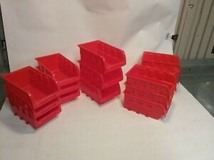 15 Pack Red 5 3 8 X 4 1 8 X 3 Plastic Storage Stacking Shelf Parts Bins