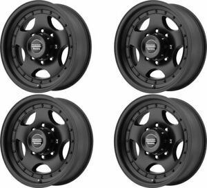 Set 4 16 American Racing Ar23 16x8 Black 8x170 Truck Wheels 0mm 8 Lug Rims