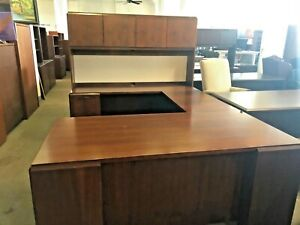 6 X 8 Executive U shape Desk By Kimball Office Furn In Dark Cherry Finish Wood