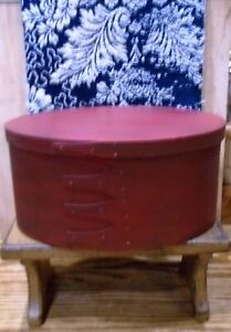Red Painted Oval Shaker Box With Fingers Large Size Great Primitive Patina