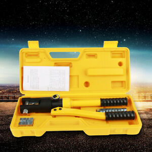 10 Ton Hydraulic Wire Crimper Crimping Tool Battery Cable Lug Terminal W 14 Dies