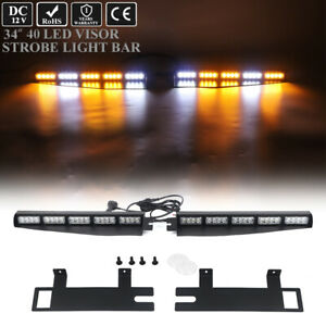 34in Led Emergency Warning W Take Down Visor Split Strobe Light Bar Amber White