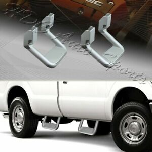 2 X Universal Truck Silver Texture Coated Die cast Aluminum Trunk Side Step Bar