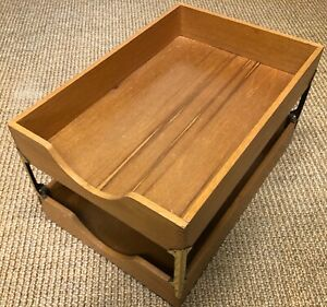 Vintage All Original 2 Tier Oak Paper Letter Trays Hedges Files