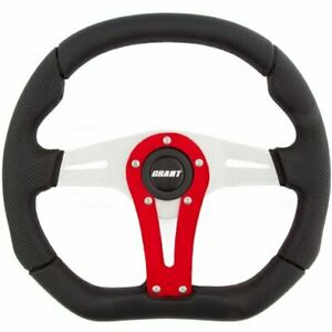 Grant 495 D series Steering Wheel Clear Anodized With Red Accent Spoke