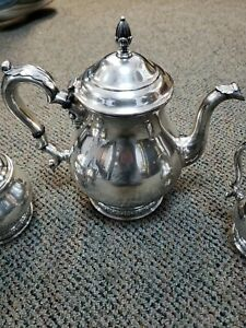 International Sterling Prelude 4pc Coffee Or Tea Pot Sugar Creamer Set