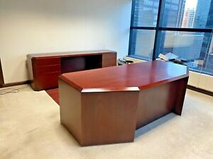 Oversized Set Desk Credenza By Cumberland Office Furniture In Mahogany Wood