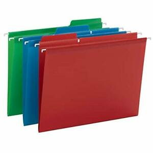 Smead Poly Fastab Hanging File Folder 1 3 cut Tab Letter Size Assorted Primar