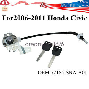 Left Driver Door Lock Cylinder Cable 72185snaa01 W 2 Keys For 06 11 Honda Civic