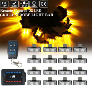 16in1 Remote Control Led Emergency Warning Grill Vehicle Strobe Light Amber 12v