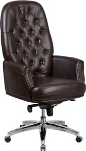 High Back Brown Tufted Leathersoft Multi function Executive Swivel Office Chair