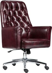 Mid back Traditional Tufted Burgundy Leather Executive Office Chair With Arms