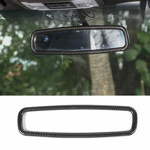 Inner Rearview Mirror Trim Ring Cover For Ford F150 mustang 2009 19 Carbon Fiber