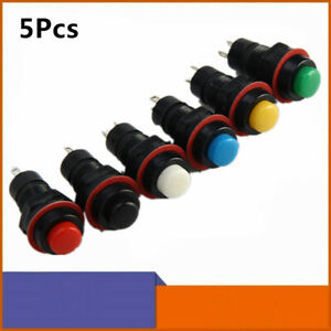 5pcs Momentary 10mm Mini Round Self locking Mini Push Button Switch 6 Colors