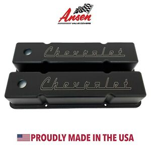 Small Block Chevy Valve Covers tall W Classic Chevrolet Logo Black Ansen Usa