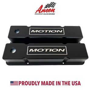 Small Block Chevy Valve Covers tall Motion Logo Black Ansen Usa
