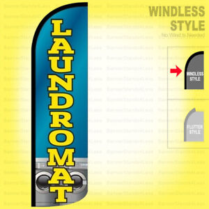 Laundromat Windless Swooper Flag 3x11 5 Ft Tall Feather Banner Sign Bq