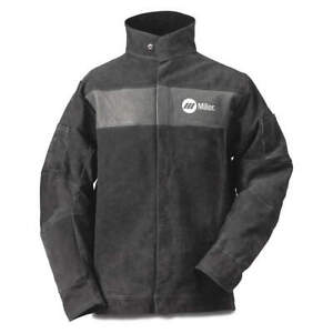 Miller Electric 273214 Welding Jacket l 30 L gray leather