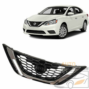 For 2016 2018 Nissan Sentra Front Bumper Upper Grille With Emblem 62310 3yu0a