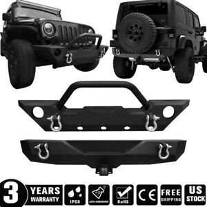 Front Rear Bumper Guard W Winch Plate D ring Hitch For Jeep Wrangler Jk 07 18