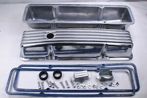 58 86 Sbc Chevy 350 Polished Aluminum Tall Retro Finned Valve Covers W gasket