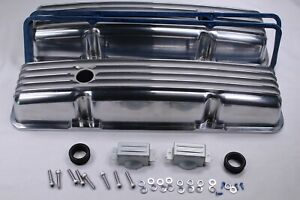 58 86 Sbc Chevy 350 Polished Aluminum Short Retro Finned Valve Covers W Gaskets