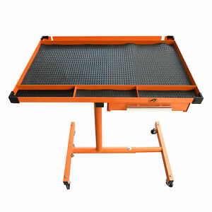 Heavy Duty Adjustable Work Table Bench 200 Lbs Rolling Tool Cart Tray With Wheel
