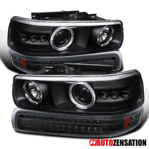 For 1999 2002 Chevy Silverado 1500 Black Projector Headlights led Bumper Lamps