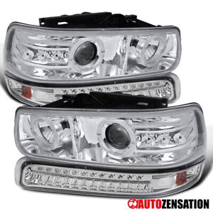 For 1999 2002 Chevy Silverado 1500 Clear Projector Headlights led Bumper Lamps