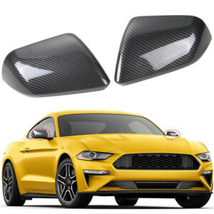 2pcs Car Rearview Mirror Cover Trim Decor For Ford Mustang 2015 19 Carbon Fiber