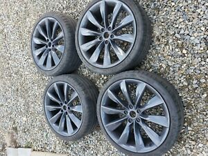 21 Staggered Turbine Style Gunmetal Rims Wheels For Model S 70 85 P85d