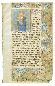 Medieval Illuminated Manuscript Leaf Circa 1450 Book Of Hours Nursing Madonna