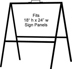 A frame Portable Folding Curb Sign Stand 18 X 24 Slide In Black pack Of 2