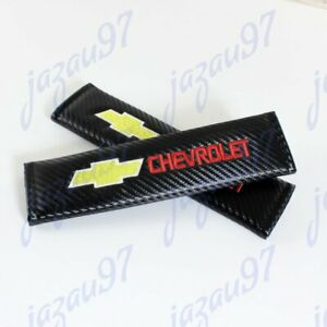Embroidery Set Carbon Look Seat Belt Cover Shoulder Pads For Chevy Chevrolet