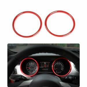 2x Red Dashboard Decoration Ring Cover Trim For Ford Mustang 2015 17 Accessories
