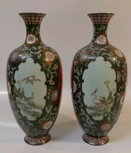 Pair Of Antique Meiji Period Japanese Cloisonne Vase S 9 7 8 Tall