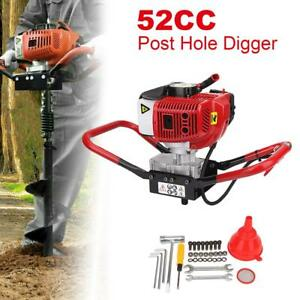 52cc 2 stroke Gasoline Gas One Man Post Hole Digger Earth Auger Machine 1700w