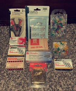Huge Lot Of New Vintage Paper Clips Staples Push Pins Staple Remover W Boxes
