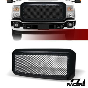 For 2011 2016 Ford F250 F350 Superduty Black Rivet Bolt Steel Mesh Bumper Grille