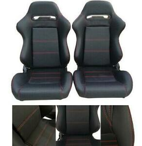 2 Pcs Pvc Racing Seats Faux Leather Reclinable Bucket Seat Left right