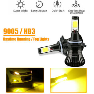 Switchback Flash Gold Yellow 9005 9006 H10 Cob Led Bulbs For Fog Daytime Lights
