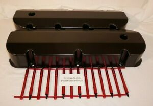 Black Bbc Big Block Chevy Fabricated Valve Covers With Red T bar Hold Downs