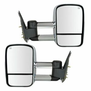 Towing Mirror Power Heated Chrome Pair For Chevy Silverado Gmc Sierra New